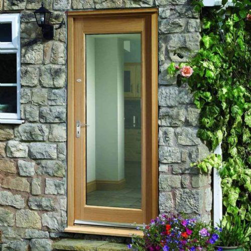 Pattern 10 Oak Clear double glazed External door